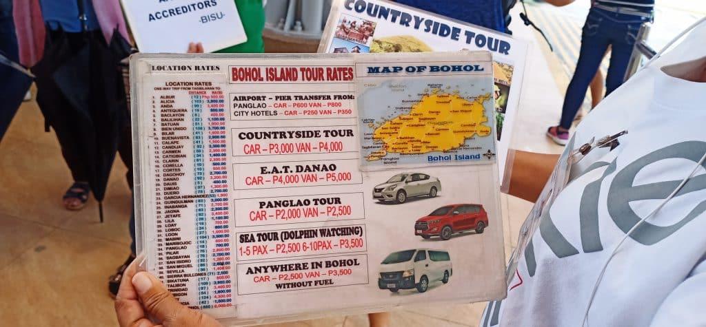 ボホール車チャーター料金表